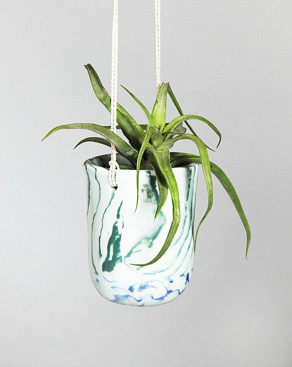 grün marmor blumentopf modern