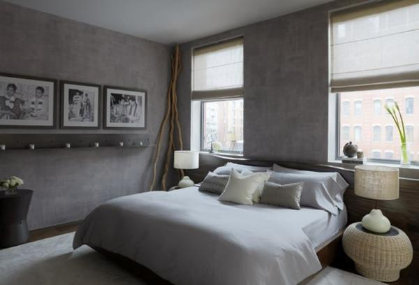 Grau Ambiente Fenster Idee Schlafzimmer Schlafzimmerwand Gestalten U2013  Wanddeko Hinter Dem Bett ...