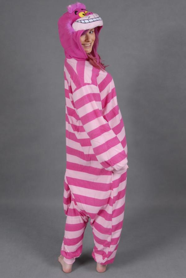 grinsekatze kostüm rosa lila streifen ergonomisch