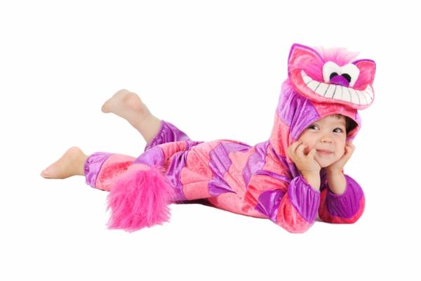 grinsekatze diy kinder kostüm rosa lila streifen kleine
