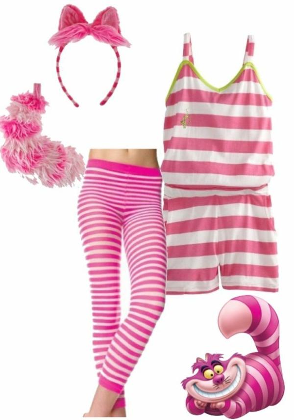 grinsekatze diy kostüm rosa lila streifen body