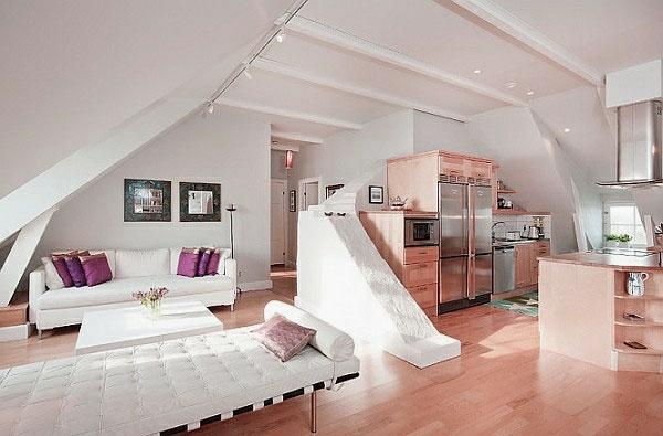 großartige moderne dachwohnung einrichten ledermöbel