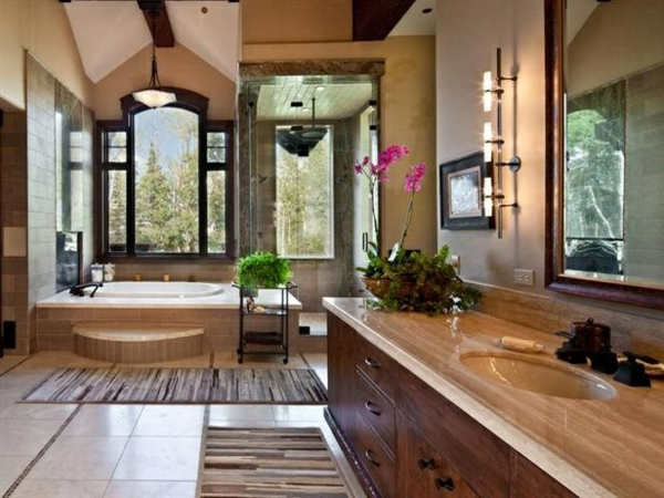 großes badezimmer pflanzen dekoration badmöbel