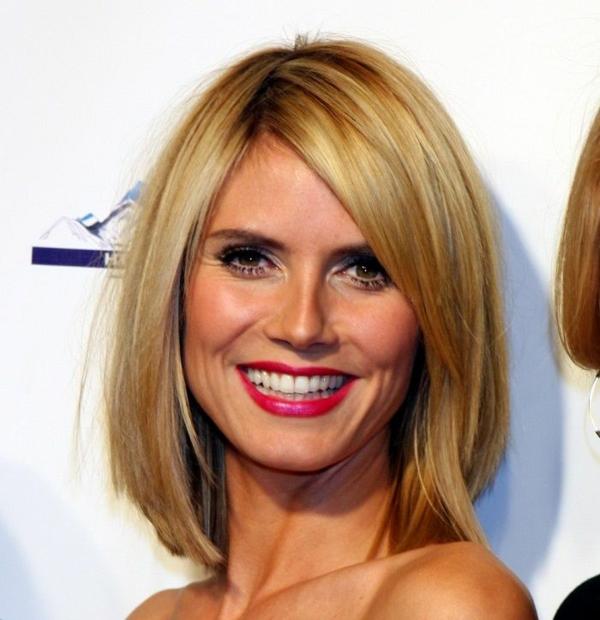 heidi klum frisuren für schulterlanges haar blond glatt
