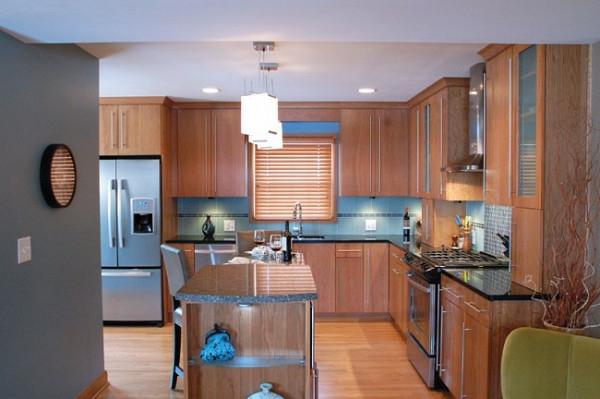 holz küchenschrank bodenbelag herd deckenleuchten kücheninsel