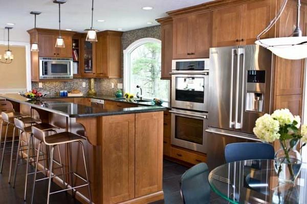 holz oberflächen küchenschrank kühlschrank leuchten