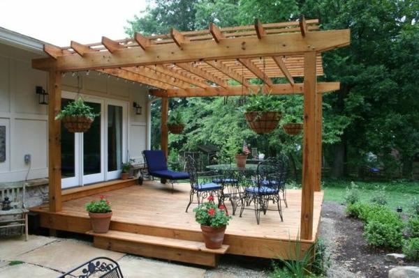 Holz Podest Pergola Selber Bauen Holzbalken Veranda