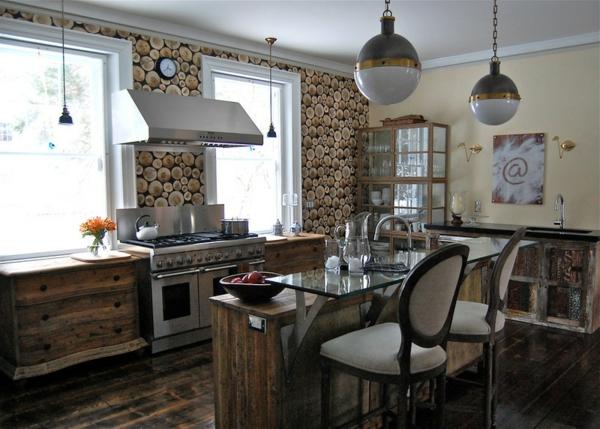 holzküche Kleine Küchen Ideen niedrige fensterbänke wandtapete muster
