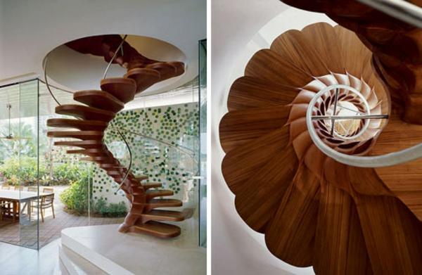 holztreppe in spiralform wohnzimmer