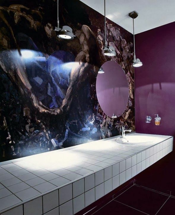 ideen für inneneinrichtung luxus badezimmer lila fliesen