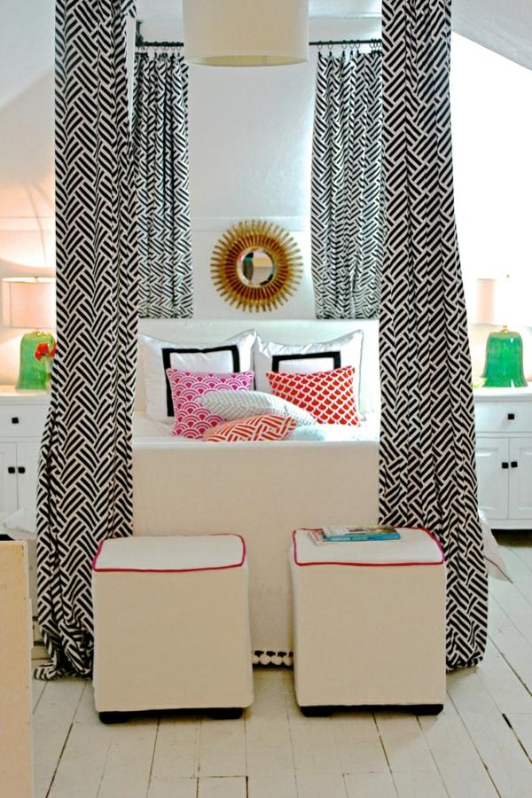ideen für inneneinrichtung schlafzimmer farbig bett gardinen
