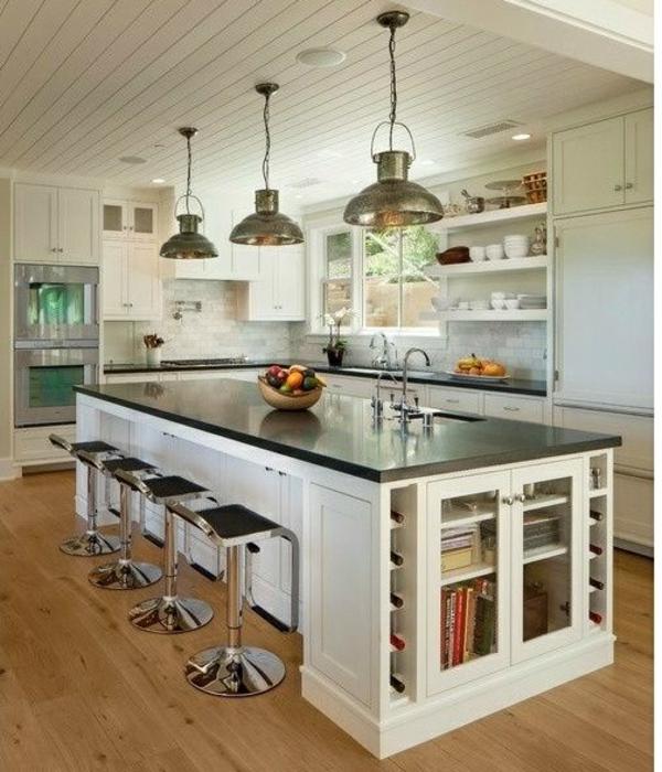 ideen für inneneinrichtung küche holzmöbel kücheninsel stauraum