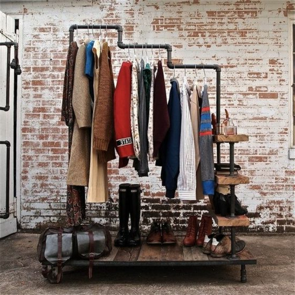 industriell stil rohr kleiderbügel kleiderständer schuhe