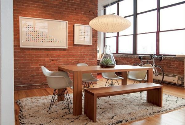 industrielles esszimmer  stühle designer pendelleuchte