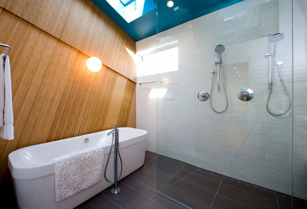 innendeign ideen badezimmer wanne duschen trennwand