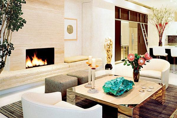 Innendeign Ideen Wohnzimmer Gestaltung Kamin Tolle Dekoration