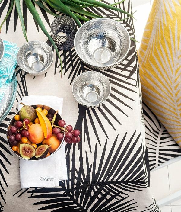 innendesign dekoration tropisch tischdecke schüssel silber