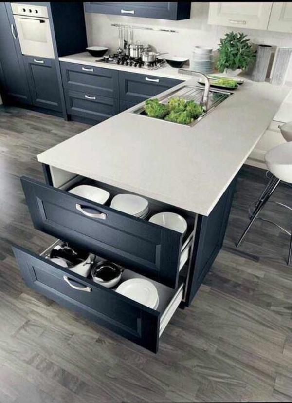 inneneinrichtung ideen küche interior design schwarz-weiß