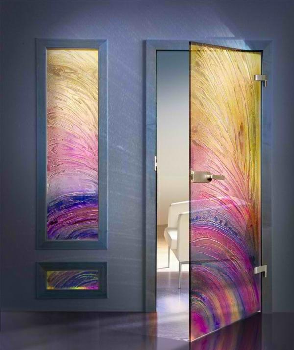 innentüren aus glas art kunst bunt