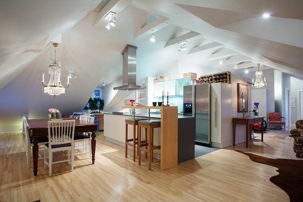 K Cheninsel Beleuchtung dachwohnung einrichten 35 inspirirende ideen