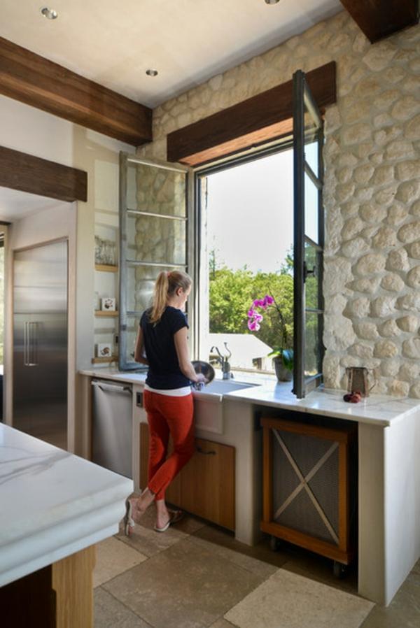 küche einrichten ideen heuschnupfen bekämpfen waschbecken am fenster