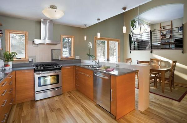 kücheninsel poliert glanzvoll modern kücheneinrichtung