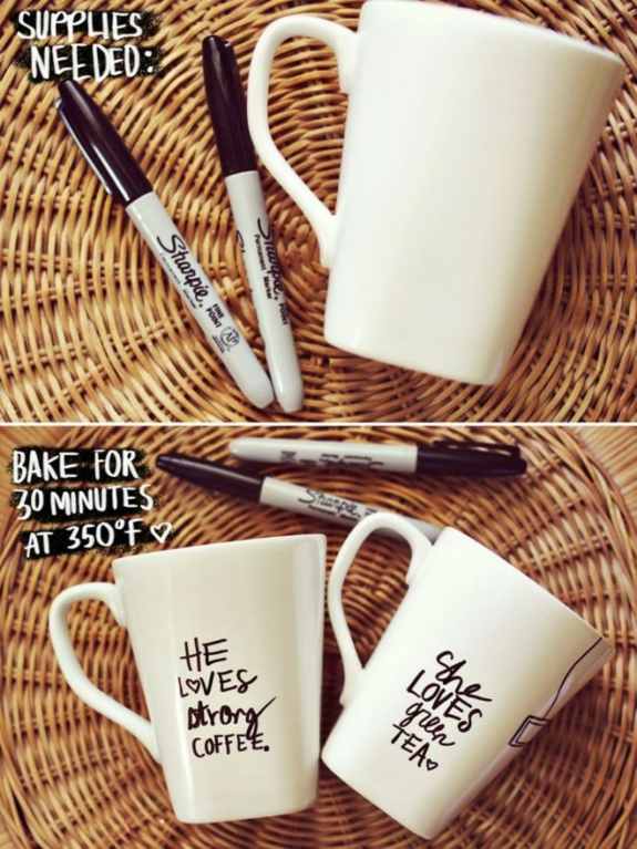 kaffeetassen bastelideen wasserfester markierstift