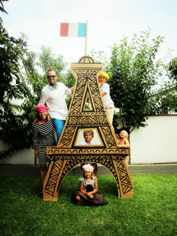 karton eiffelturm familie gartendeko frische Ideen für Partydeko frühling