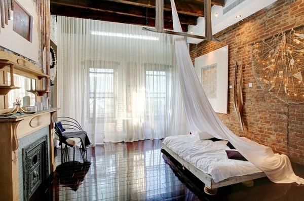 klassisch industriell gestaltung schlafzimmer Coole Gardinen Ideen