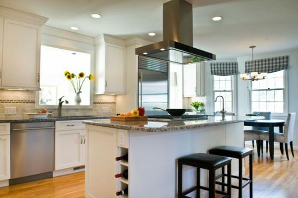 kleine küche gestalten kücheninsel spüle sonnenblumen