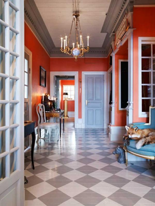 korridor design farbkombination melonen und grau