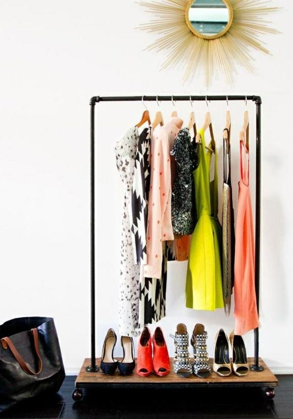 kreative bastelideen kleiderständer selber bauen röhre holzplatte