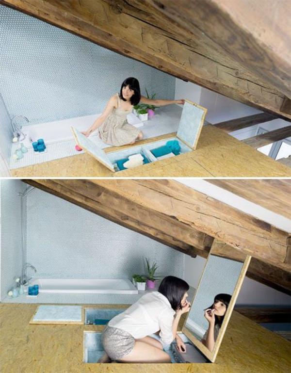 kreative wohnideen dachapartment eingebauter schminkraum