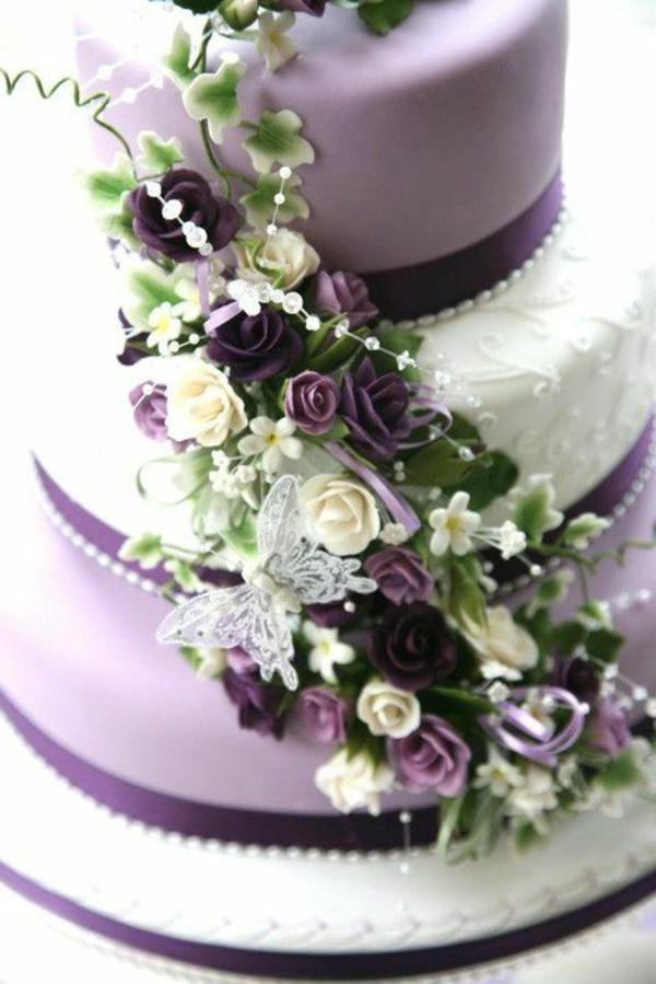 Hochzeitstorte Weiß Lila ~ Lila Hochzeitstorte Ideen violette und ...