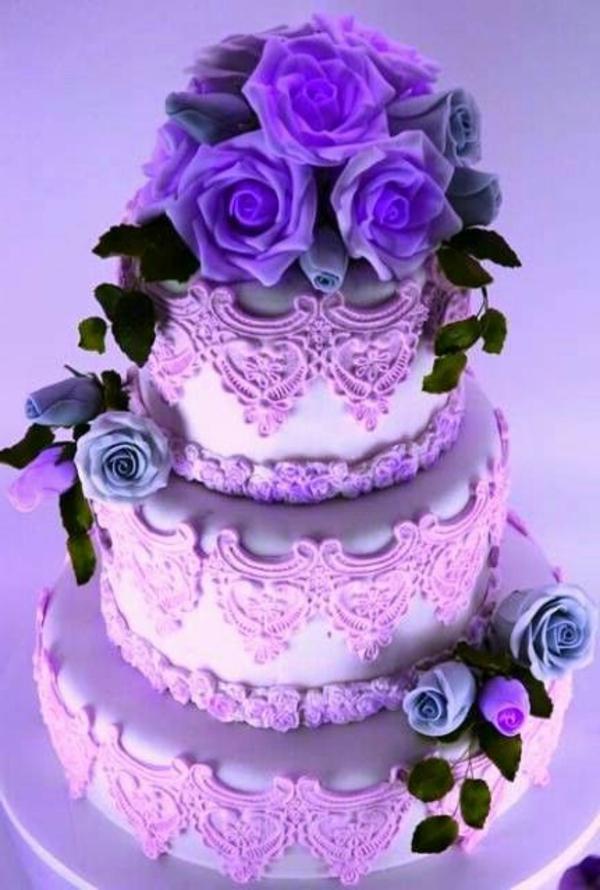 lila hochzeitstorte ideen farbtöne