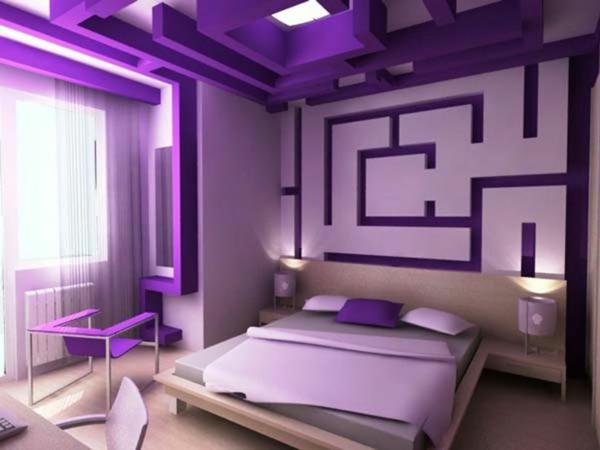 lila ideen für schlafzimmergestaltung futuristisch