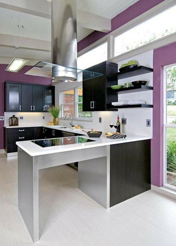 lila wandgestaltung küche einrichtung arbeitsplatte