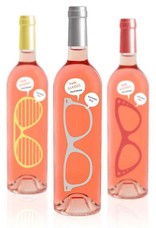 lustige verpackungen rosa brillen wein