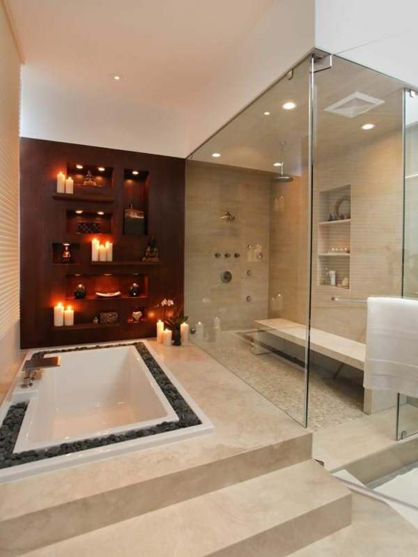 luxuriöse dekoration badezimmergestaltung holzwand kerzen