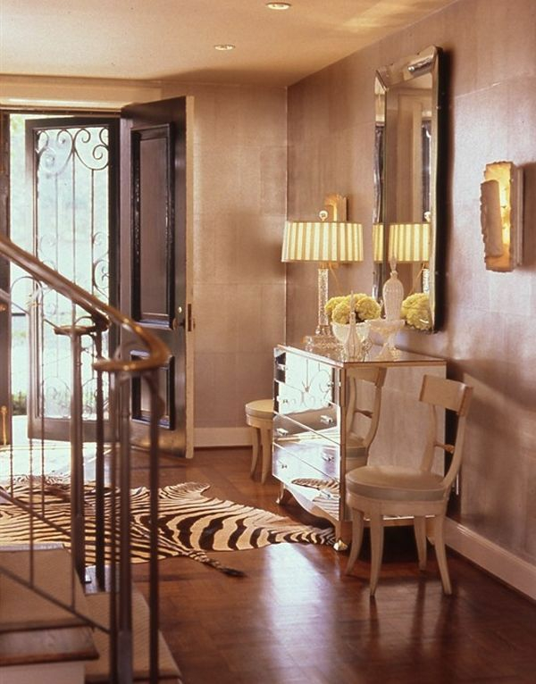 luxuriöse design ideen im korridor warme farben anrichte