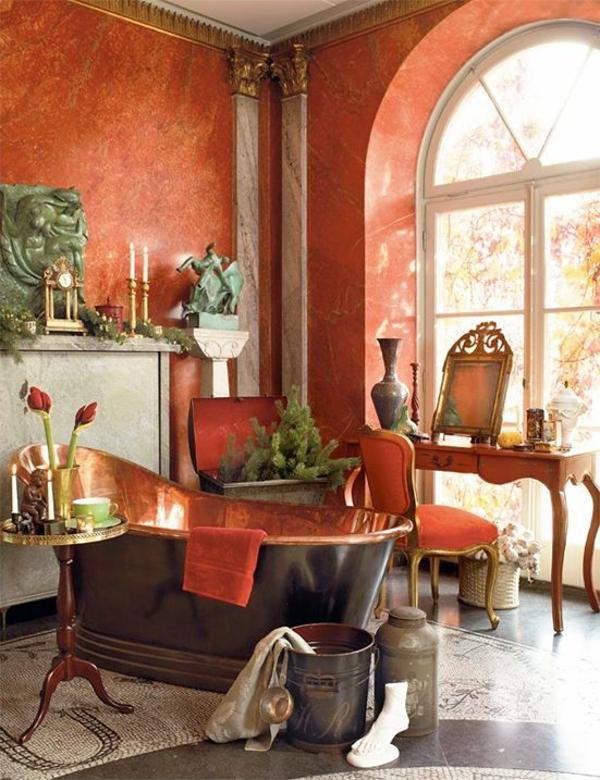 luxuriöses badezimmer klassische gestaltung kupfer wandfarbe wanne