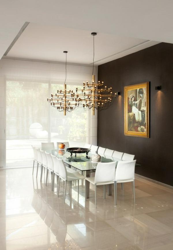 luxus esszimmer ideen schwarze wand möbel