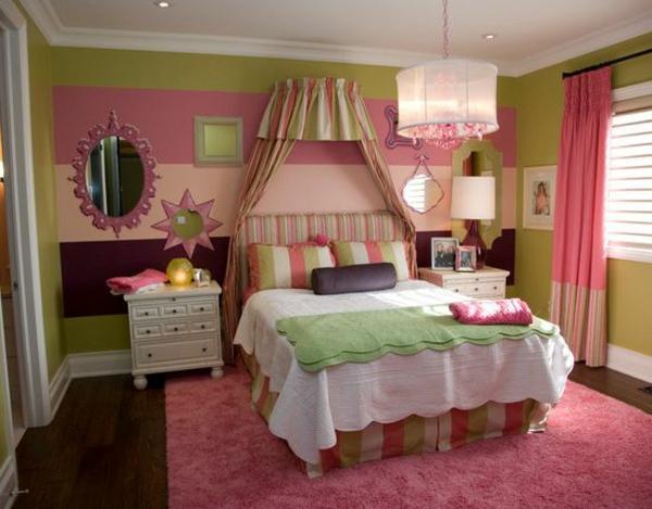 mädchenzimmer gestaltungsideen grün rosa weiß