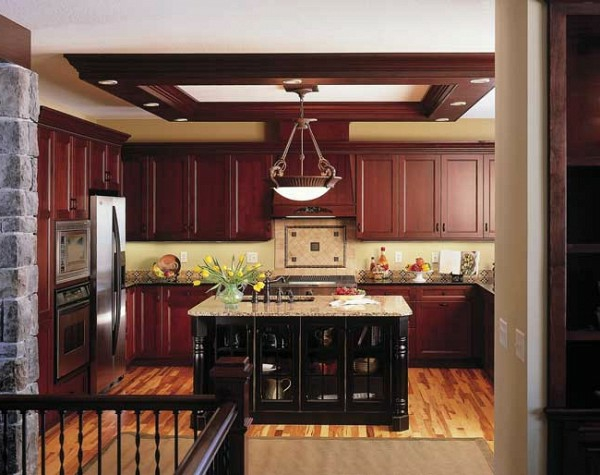 mahagoniholz kücheninsel deckenleuchten moderne Küchengestaltung Ideen