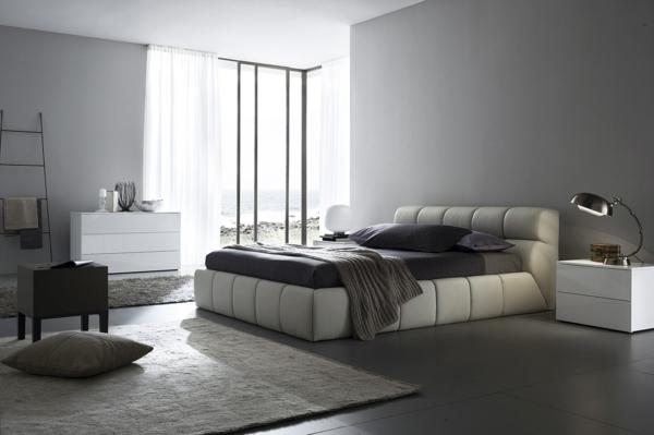 monochromatisch dunkel schlafzimmerwand gestalten sachlich