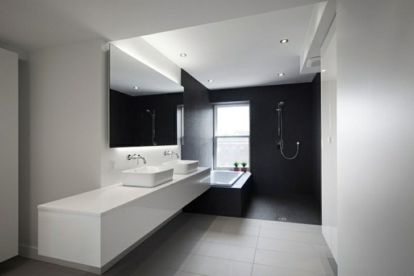 badezimmer ideen in schwarz wei 45 inspirierende beispiele. Black Bedroom Furniture Sets. Home Design Ideas