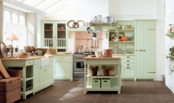 hell grün bemalte küchenmöbel rustikal stil