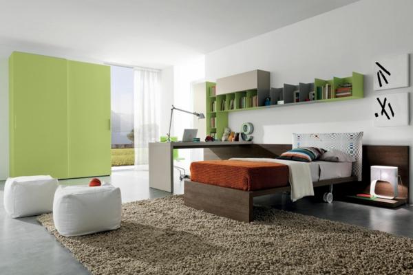 frische farbgestaltung weich teppich schlafzimmer urban