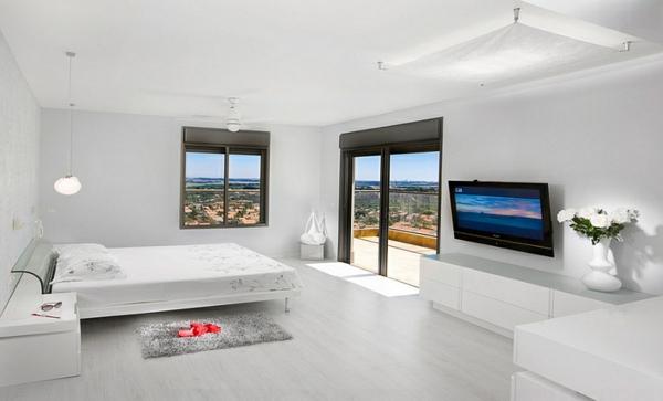 modern minimalistisch schlafzimmer ideen weiß