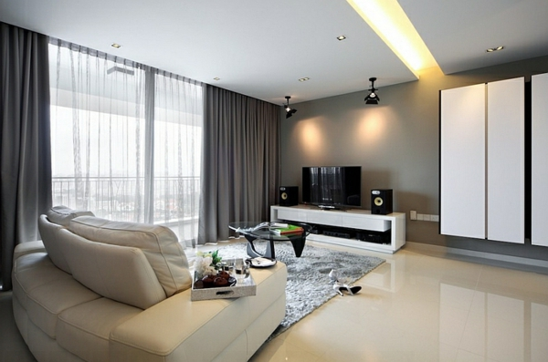 modern wohnzimmer dunkle gardinen vorhänge Coole Gardinen Ideen